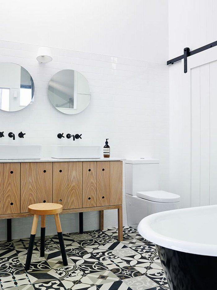 Vous cherchez des id es pour un carrelage noir et blanc for Salle de bain noir et bois