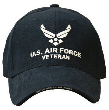 Air Force Cap ~ U.S. Air Force Veteran Cap ~100% Cotton Twill Adjustable Military Collectible Hat ~ With Solid Back Sytle! by Rush Industries. $20.96. Show your pride by wearing this honorary cap!  Each cap is meticulously crafted, solid 100% brush cotton twill. They have a sporty look with a military visor made of all-weather polyester fabric from front to back. Fits all sizes with its easy adjustable strap. (Not sold in stores).