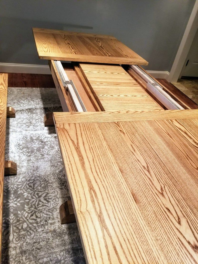 Expandable farmhouse table with leaf storage etsy in