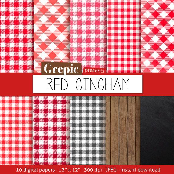 """red gingham digital paper: """"red gingham"""" with picnick table cloth"""