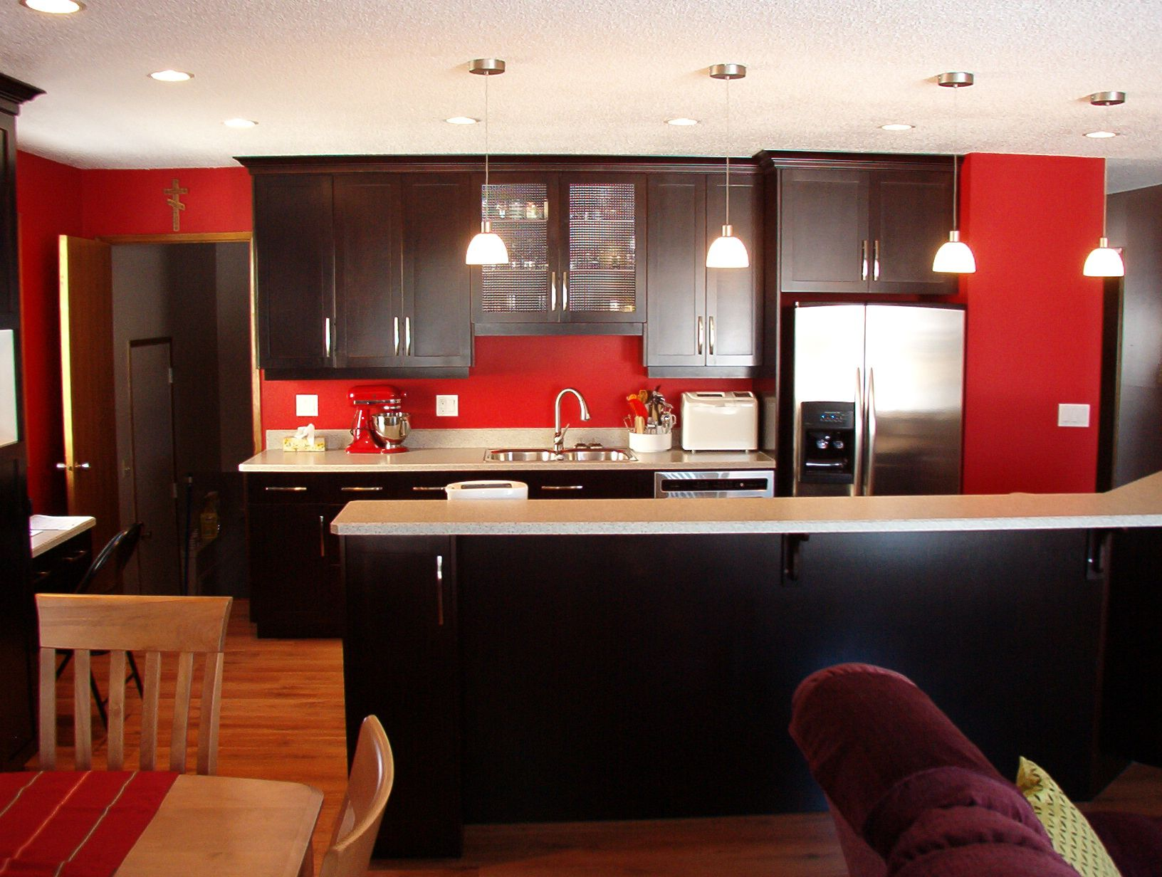Black And Red Theme Liking It A Lot Black And Red Kitchen Red Kitchen Walls Kitchen Colors