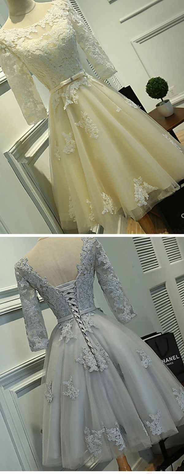 Long sleeves ivory lace tea length wedding dresses cheap beach
