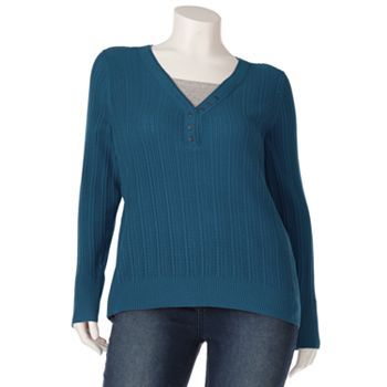 SONOMA life + style Mock-Layer Sweater - Women's Plus