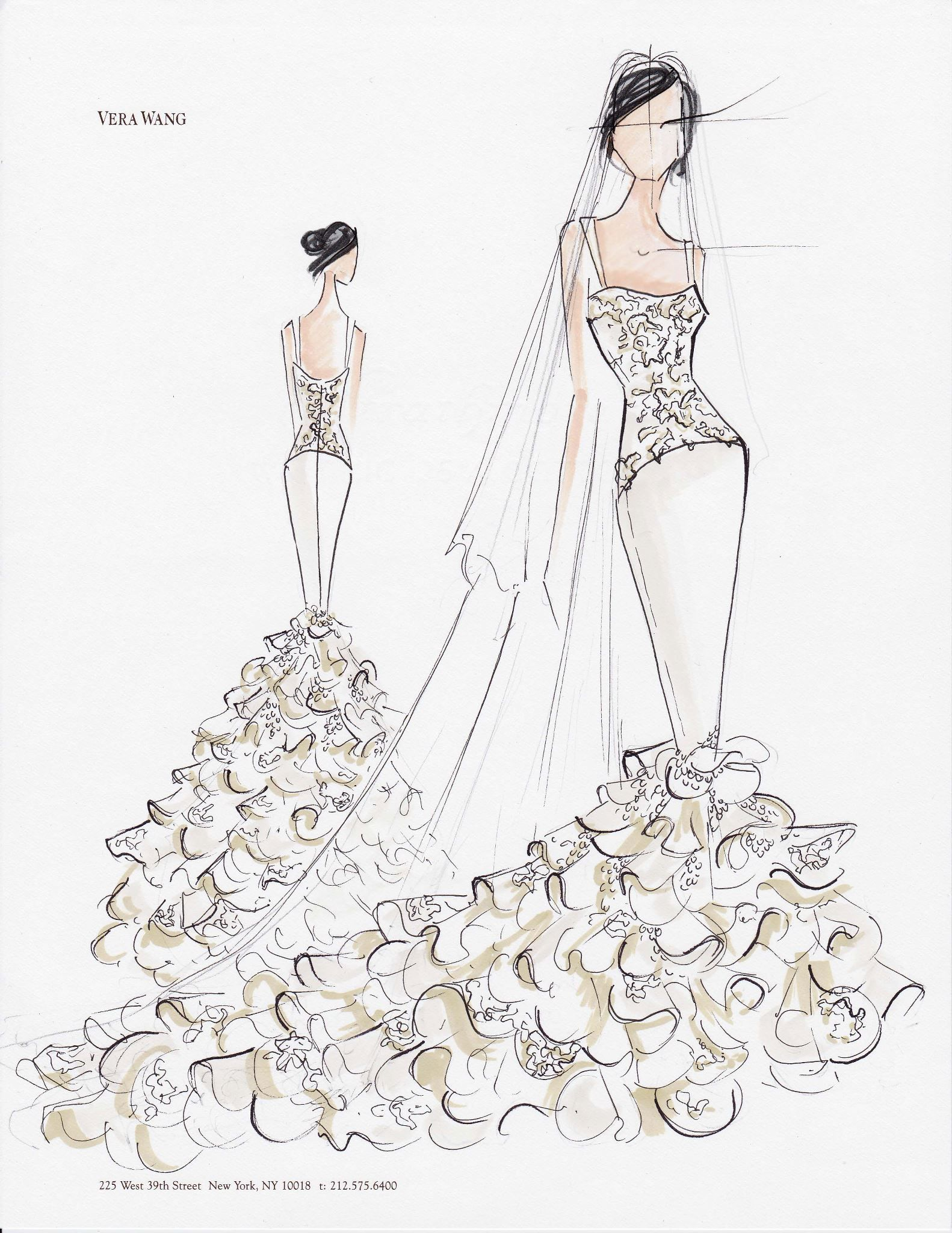3351d3528d23a Vera Wang Fashion Illustration Sketches, Fashion Design Sketches, Kim  Kardashian Wedding Dress, Wedding