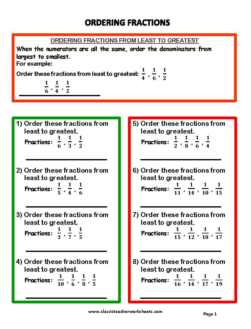 check out our collection of math worksheets at  check out our collection of math worksheets at  classicteacherworksheetscom worksheet fractions  ordering fractions  from least to greatest