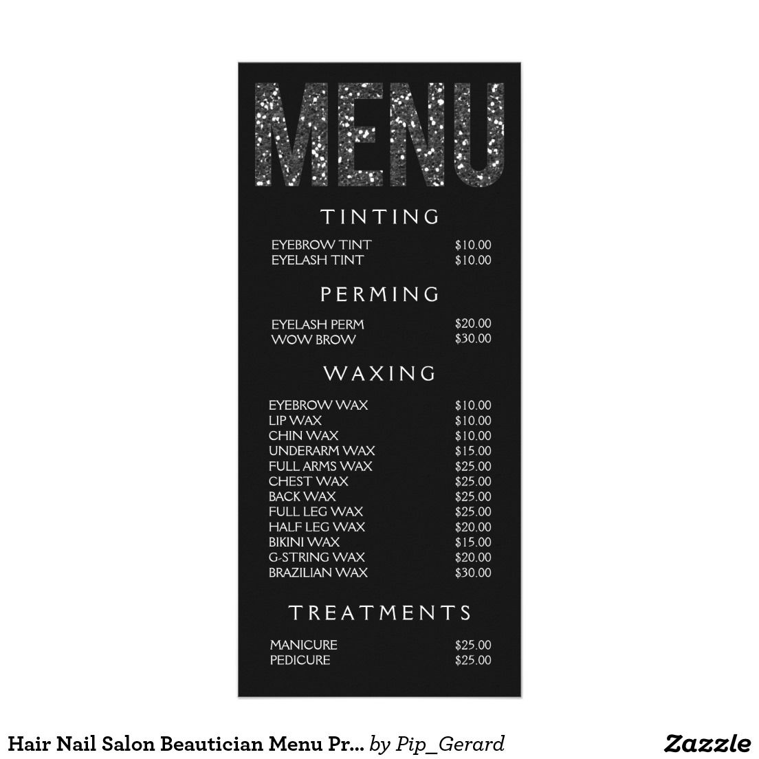 Hair Nail Salon Beautician Menu Price List