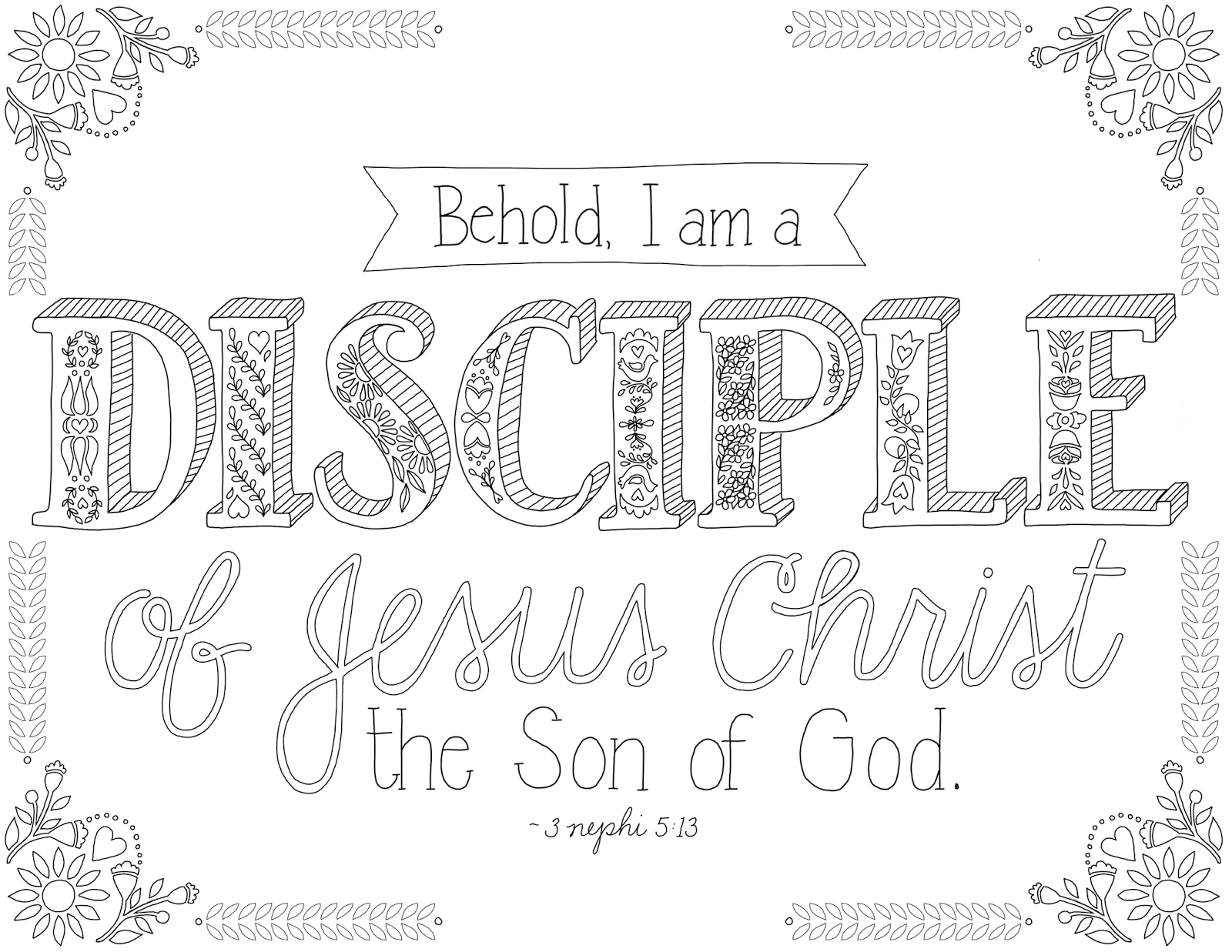 Printable coloring pages religious items - Just What I Squeeze In I Am A Disciple Free Lds