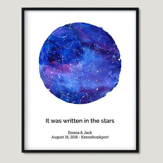 Gifts For Wedding Night: Printable Watercolor Custom Star Map Best Valentines Gift