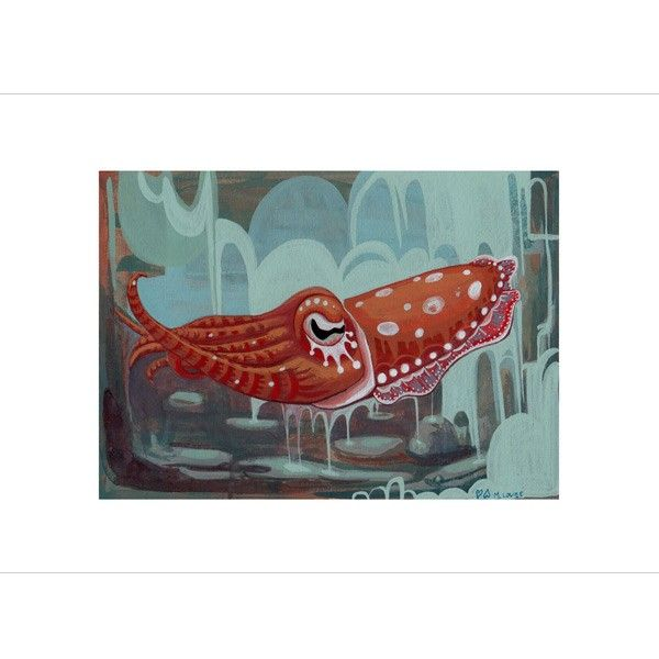 Is this sweet cuttlefish melancholy?  Handmade Gifts - Cuttlefish Print