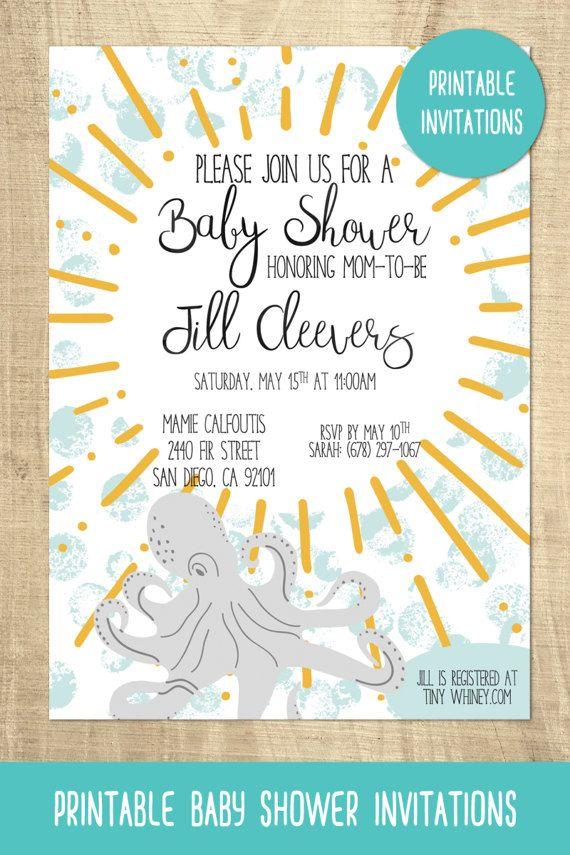 Octopus Baby Shower Invitation Ocean Animal Gender Neutral Ideas Under The Sea