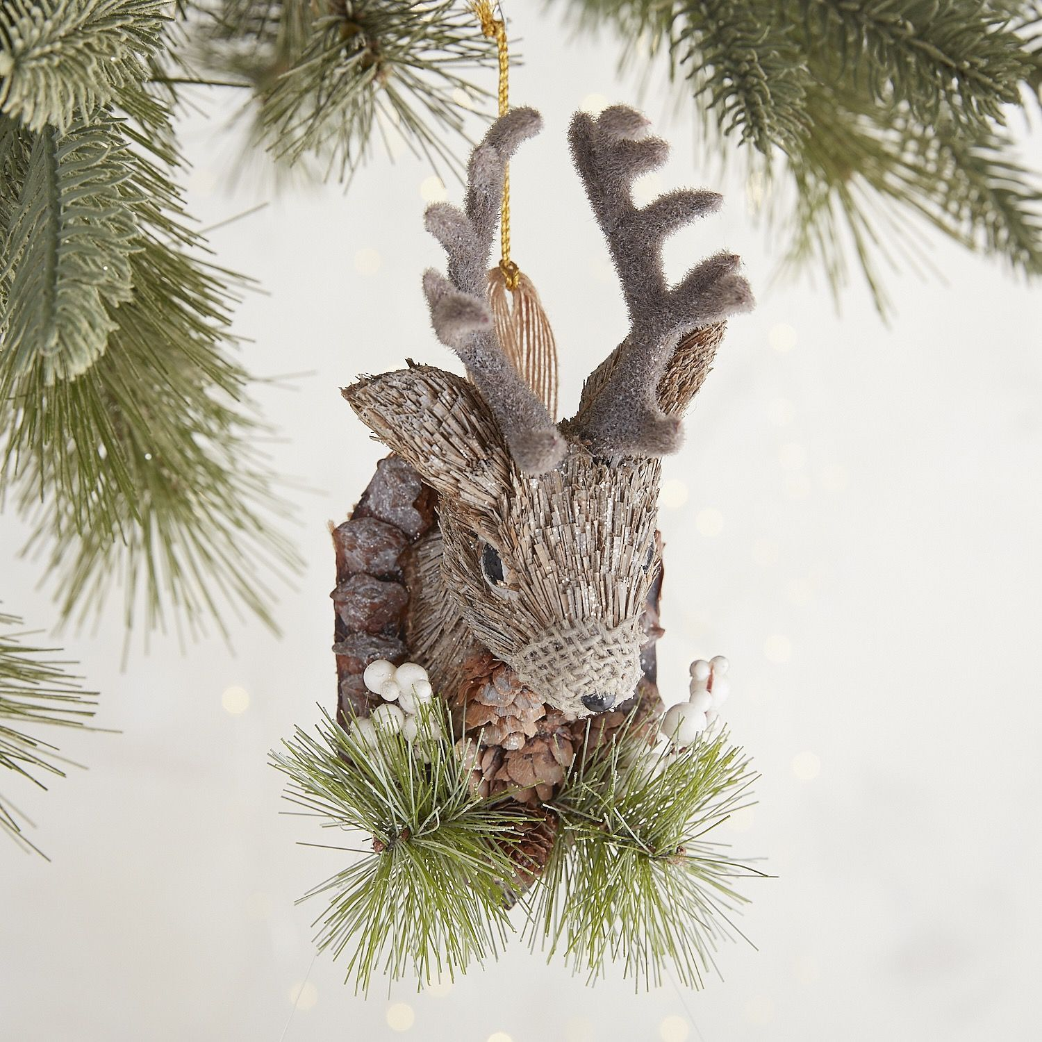 Natural Deer Head Plaque Ornament
