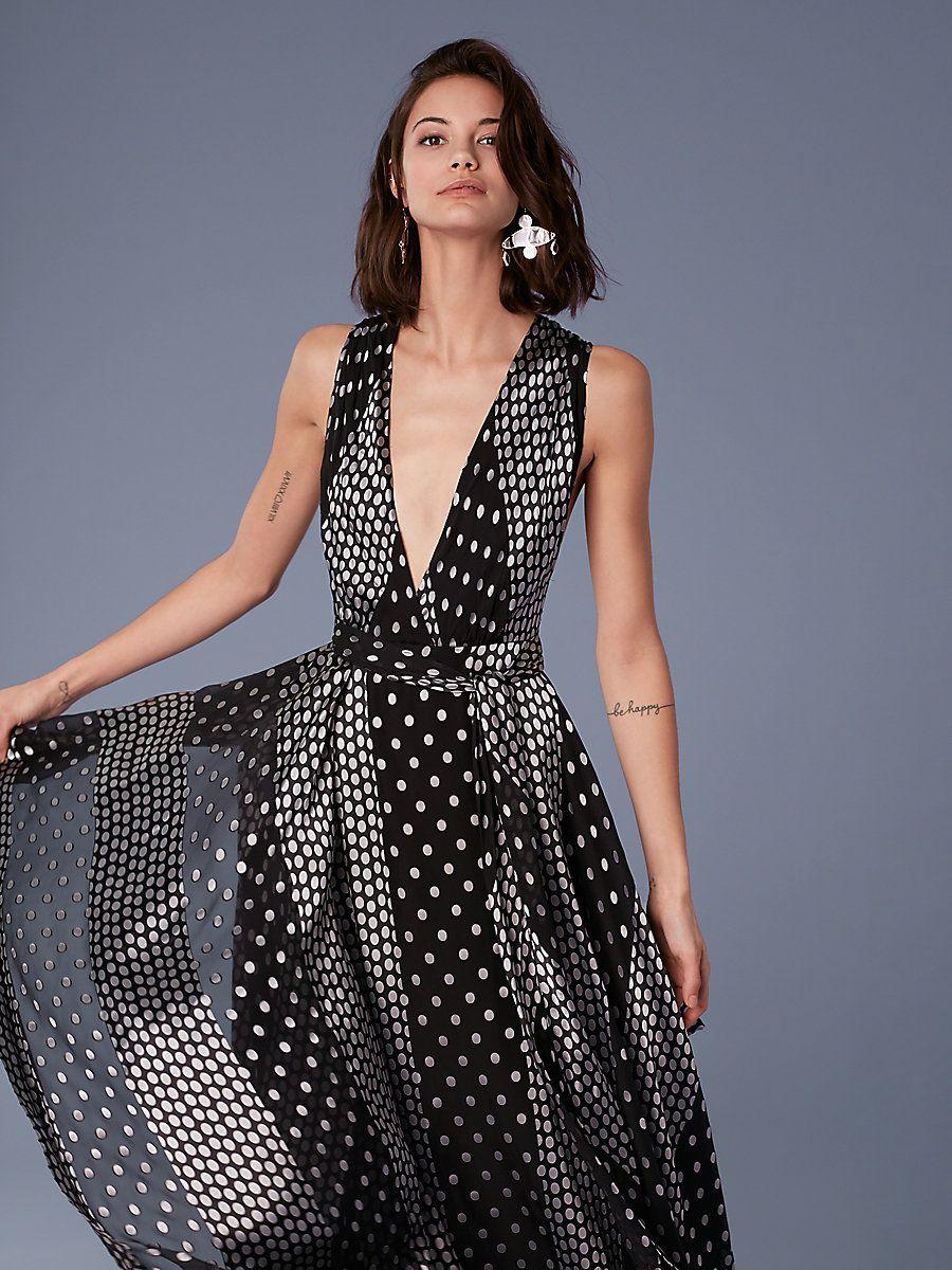 Sleeveless Draped V-neck Maxi Dress in Black  Silver  1a84f62a4