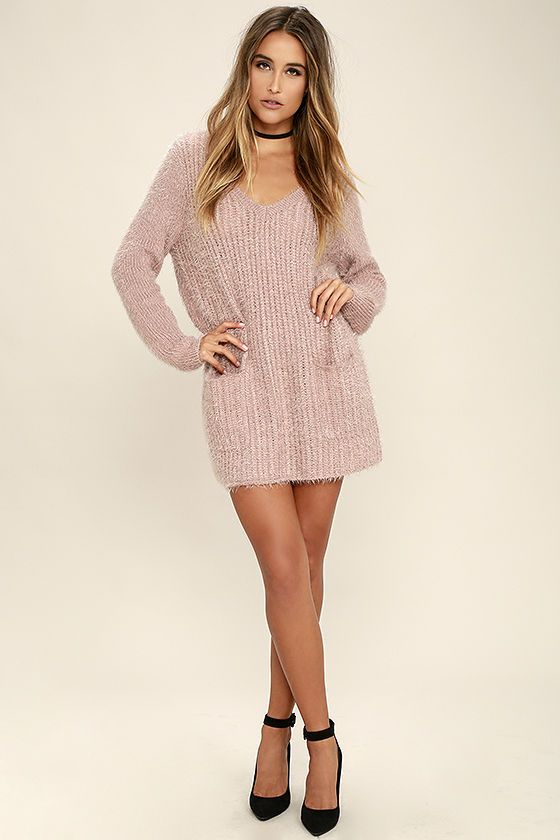 be660d3467 Cozy up in the irresistible Jack by BB Dakota Aristella Mauve Sweater Dress  and watch as your admirers gather! Fuzzy