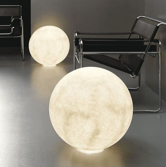 FLOOR MOON 3 Floor Lamp In White Nebulite®. Floor Moon 1 Ø 50 Cm Power Light)  Floor Moon 2 Ø 70 Cm Power Light) Floor Moon 3 Ø 120 Cm Power Light) U2026