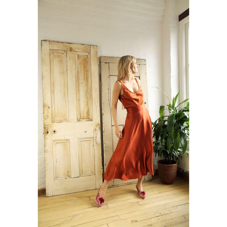 Park Art|My WordPress Blog_Rust Satin Dress Plus Size