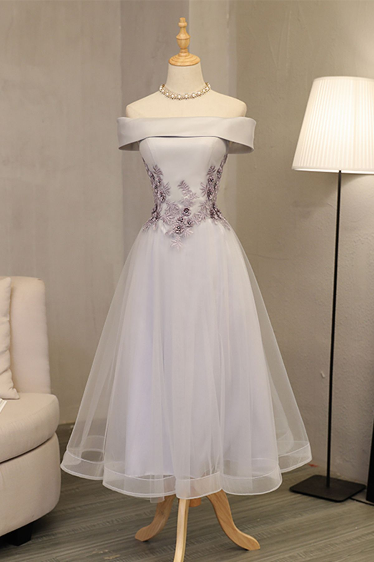 Light gray midleg length off shoulder lace appliques homecoming
