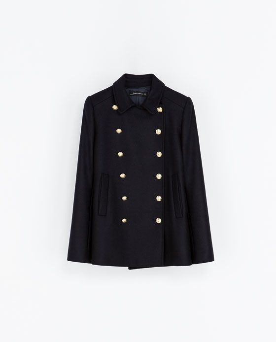 03625f8b Navy SHORT COAT WITH METALLIC BUTTONS from Zara   Clothes Etc ...
