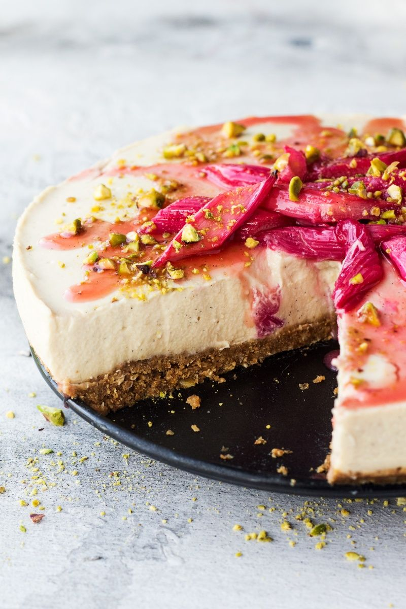 Vegan White Chocolate Cheesecake With Rhubarb And Ginger