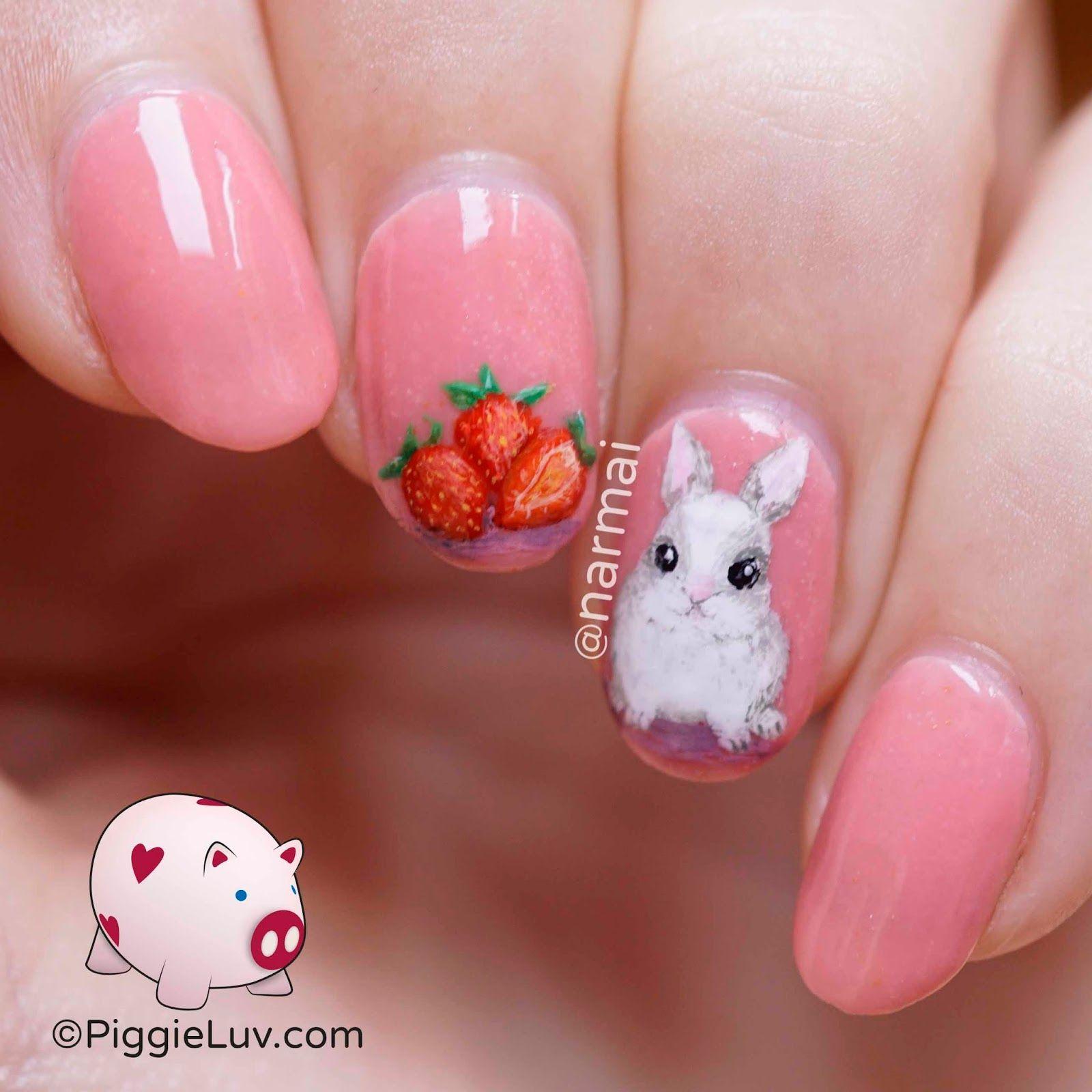 Freehand strawberry bunny nail art | Pinterest | Bunny nails, Girls ...