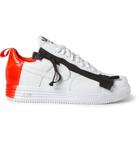 new style 01da6 b9d64 NIKE + Acronym Lunar Force 1 Leather Sneakers . nike shoes patent  sneakers round toe lace