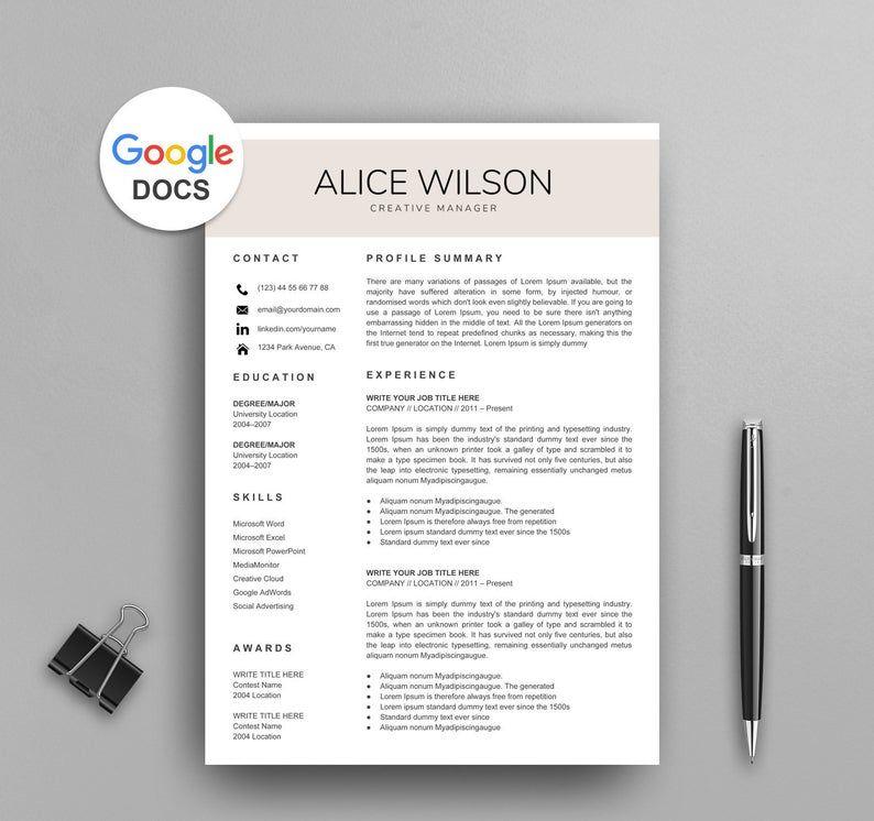 nuik noke Resume Templates Free Google Docs in 2020