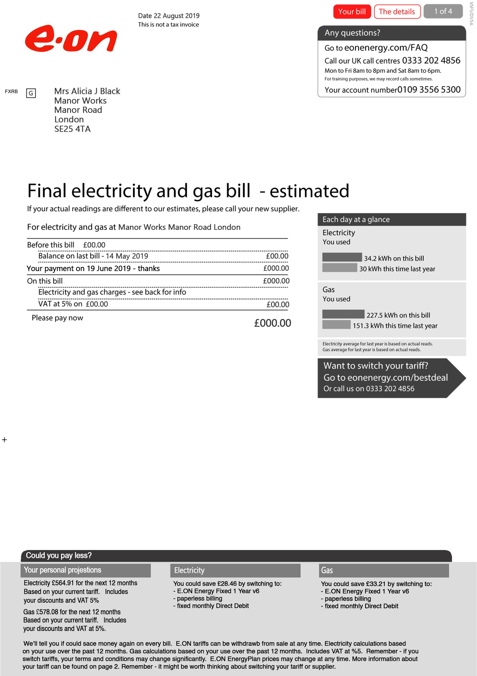 Eon Electricity And Gas Utility Bill Psd Template In 2021 Gas Utility Psd Templates Photoshop Program