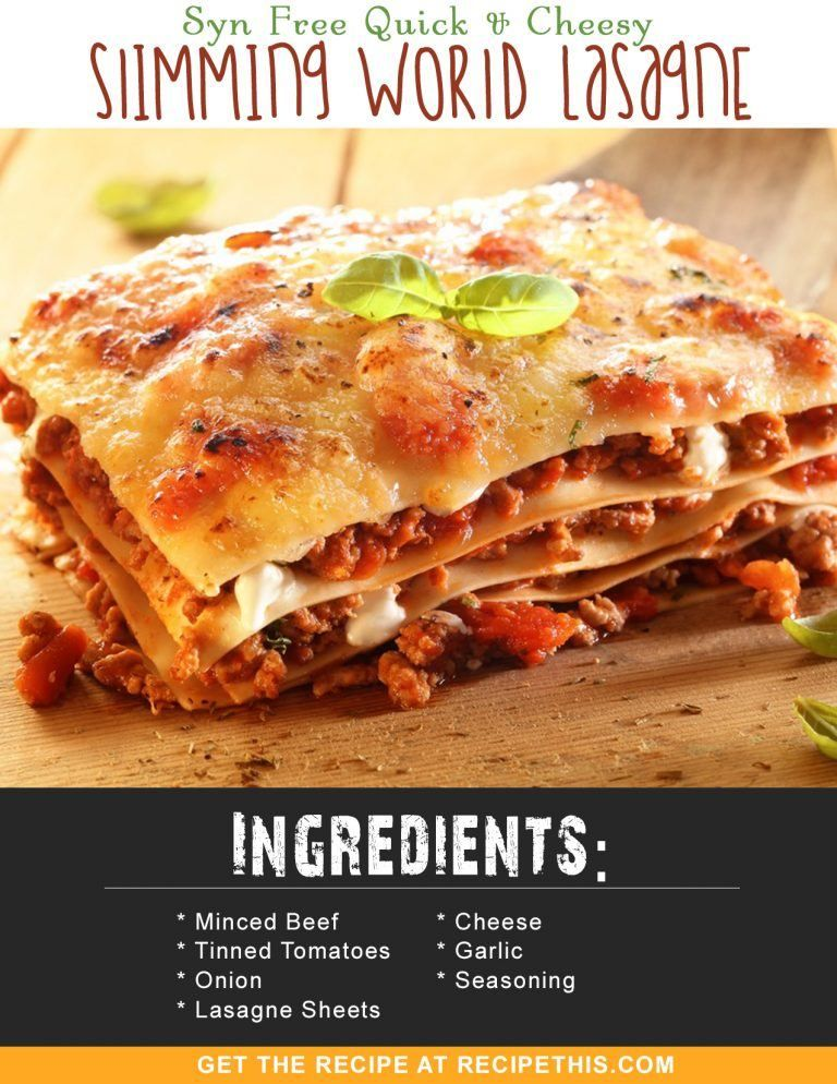 Syn Free Quick & Cheesy Slimming World Lasagne