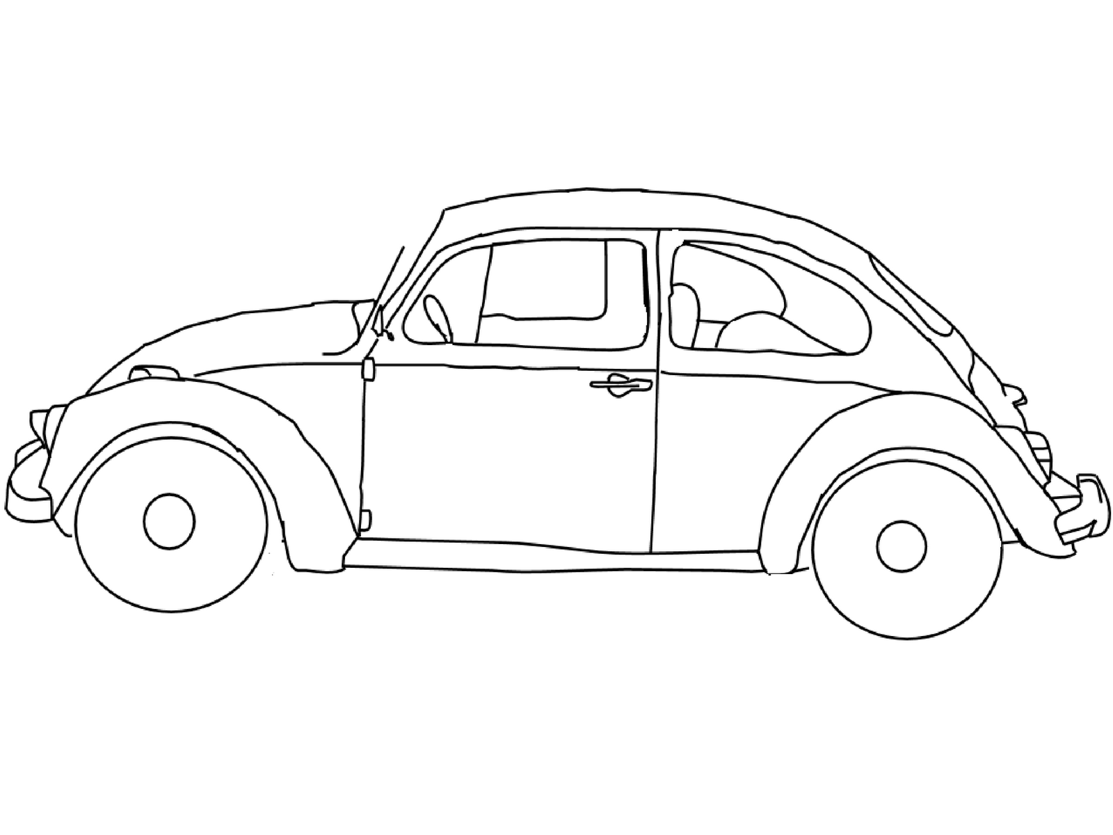 drawing of a vw bug | Voiture coccinelle : coloriages | free ...