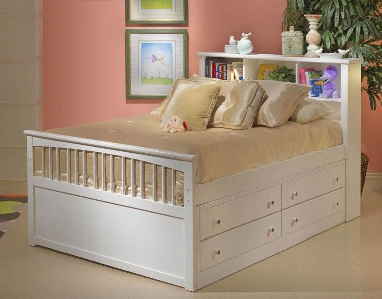 White Full Size Bed With Drawers And Book Case Headboard Using Cream