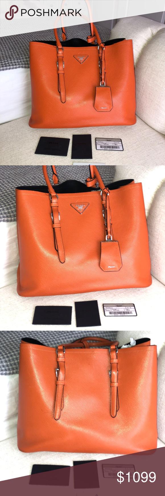 5fd48cdb37c7f4 PRADA Fuoco Saffiano Textured Leather Medium Beautiful hardly used bag(the  plastic protector on the