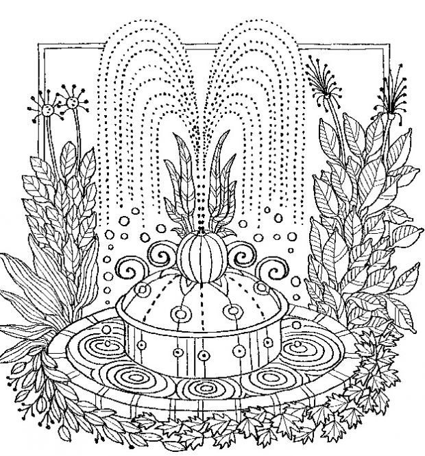 Garden Water Fountain Coloring Page Coloring Pages Garden
