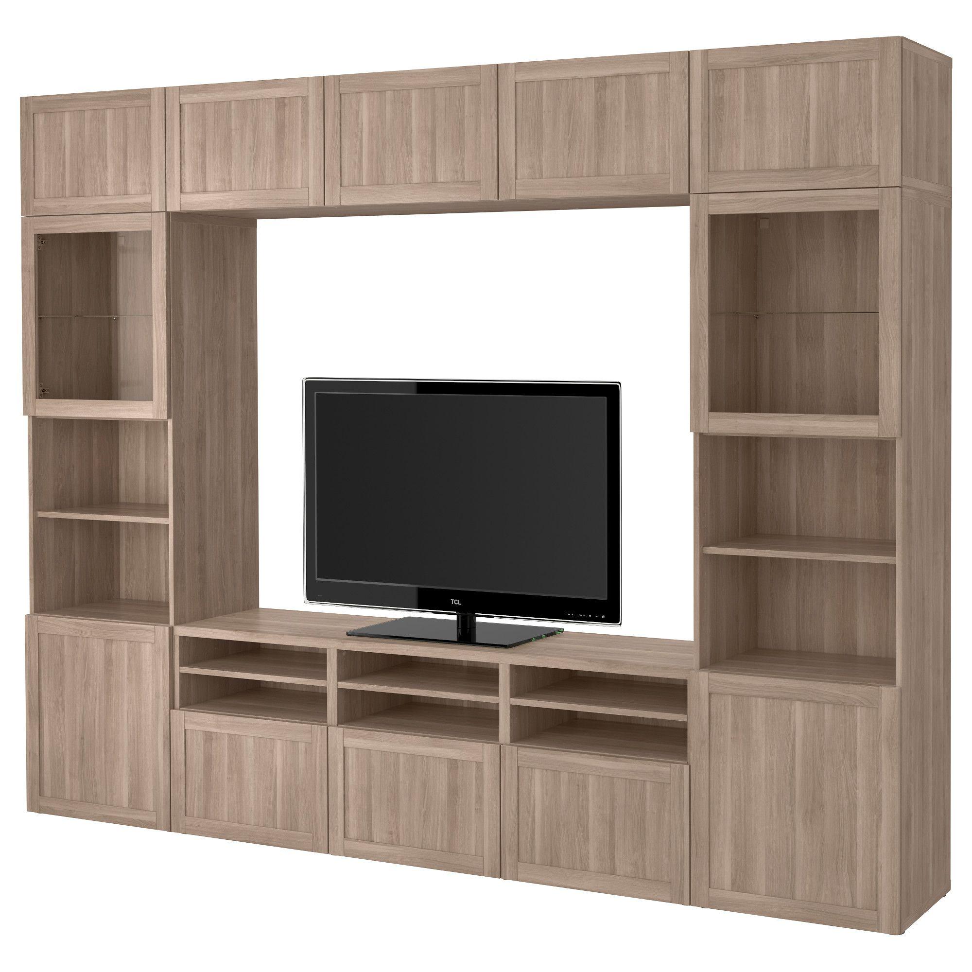 Ikea Best Tv Storage Combination Glass Doors Walnut Effect Light Gray Selsviken High Gloss