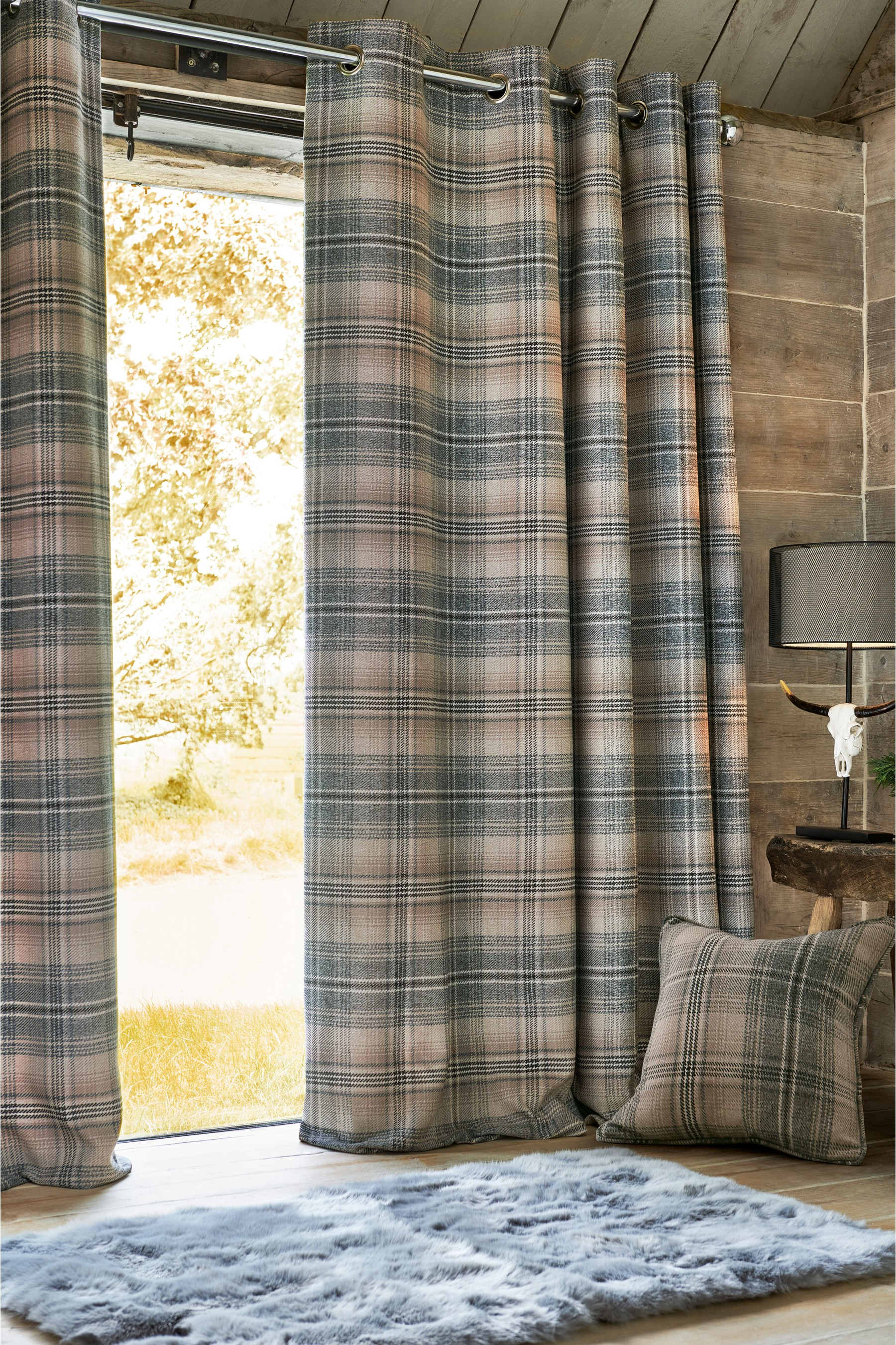Grey Thermal Curtains Next Nevis Woven Check Eyelet Super Thermal Curtains Grey