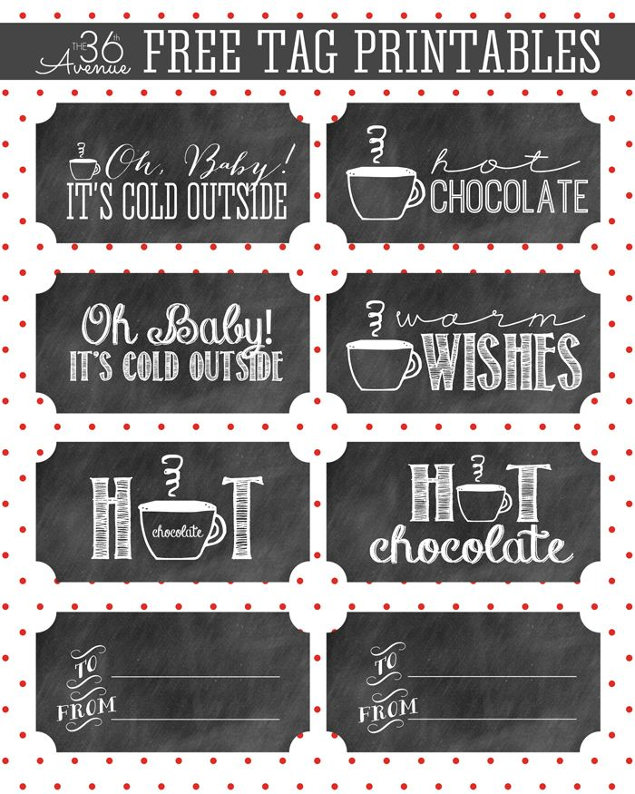 hot chocolate and gift tag printable christmas labels and rh pinterest com