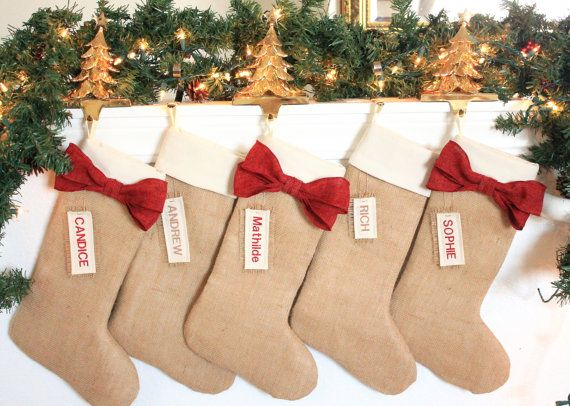 LOve the bows! PERSONALIZED Christmas Stockings, Burlap holiday