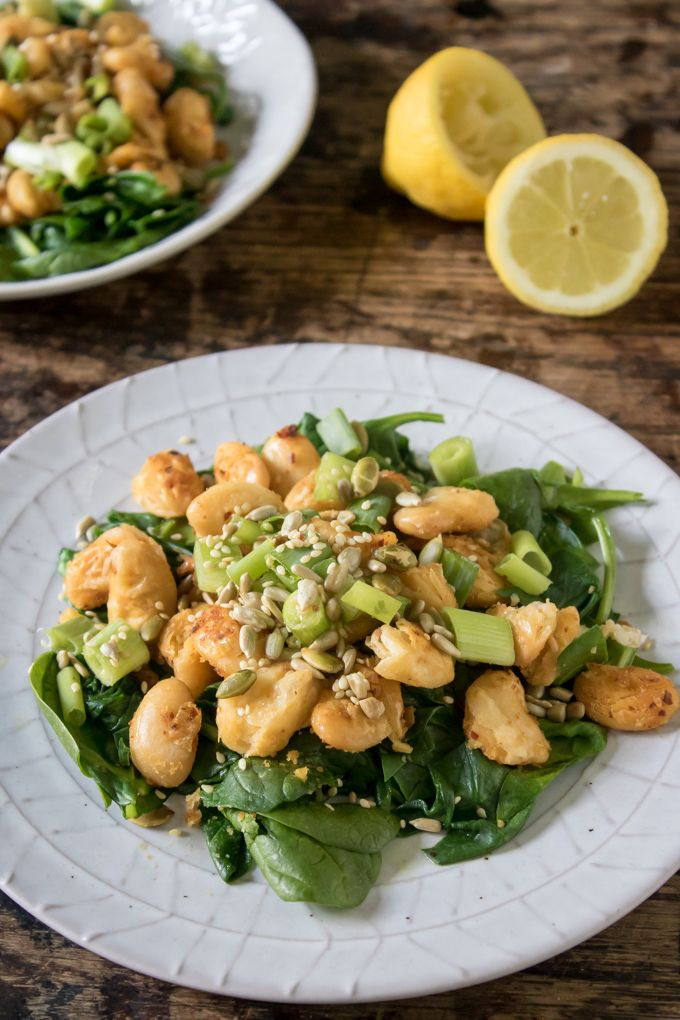 Sauteed Butter Bean Salad With Spinach