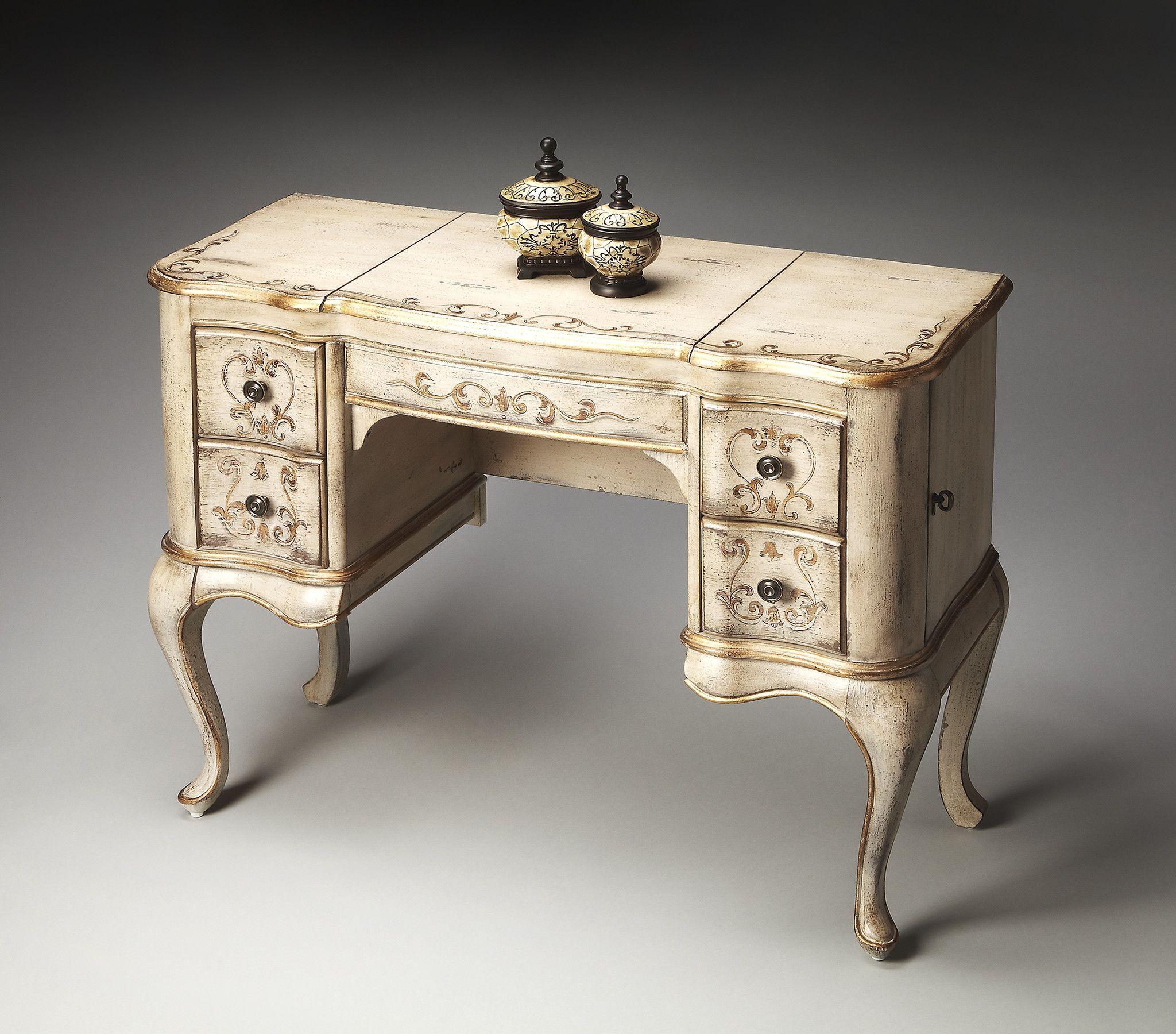 Decorative hand painted cream vanity table decor pinterest