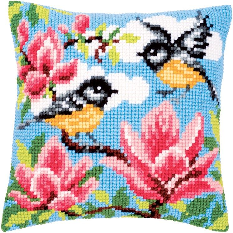 Vervaco Printed Cross Stitch Cushion Kit. Blue Tits.