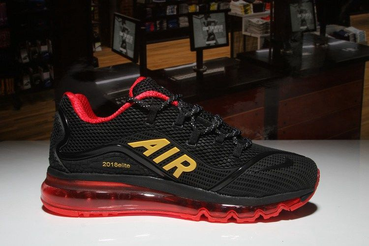 3accf6bc44 Nike Air Max 2018 Elite Hot Black Red Gold Shoes For Men Mens Running,  Running