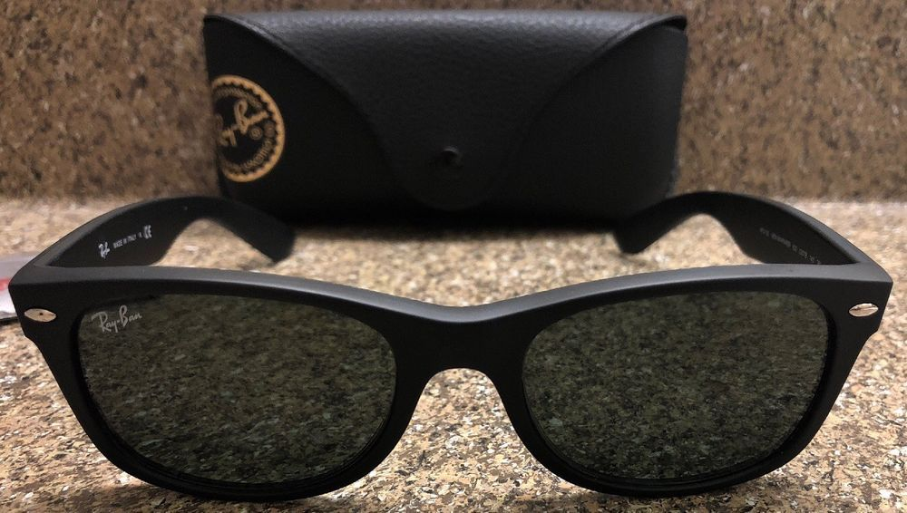e4a46b784a9 New RayBan New Wayfarer RB 2132 622 Rubber Black Sunglasses Green G-15 Lens  55mm  fashion  clothing  shoes  accessories  unisexclothingshoesaccs ...