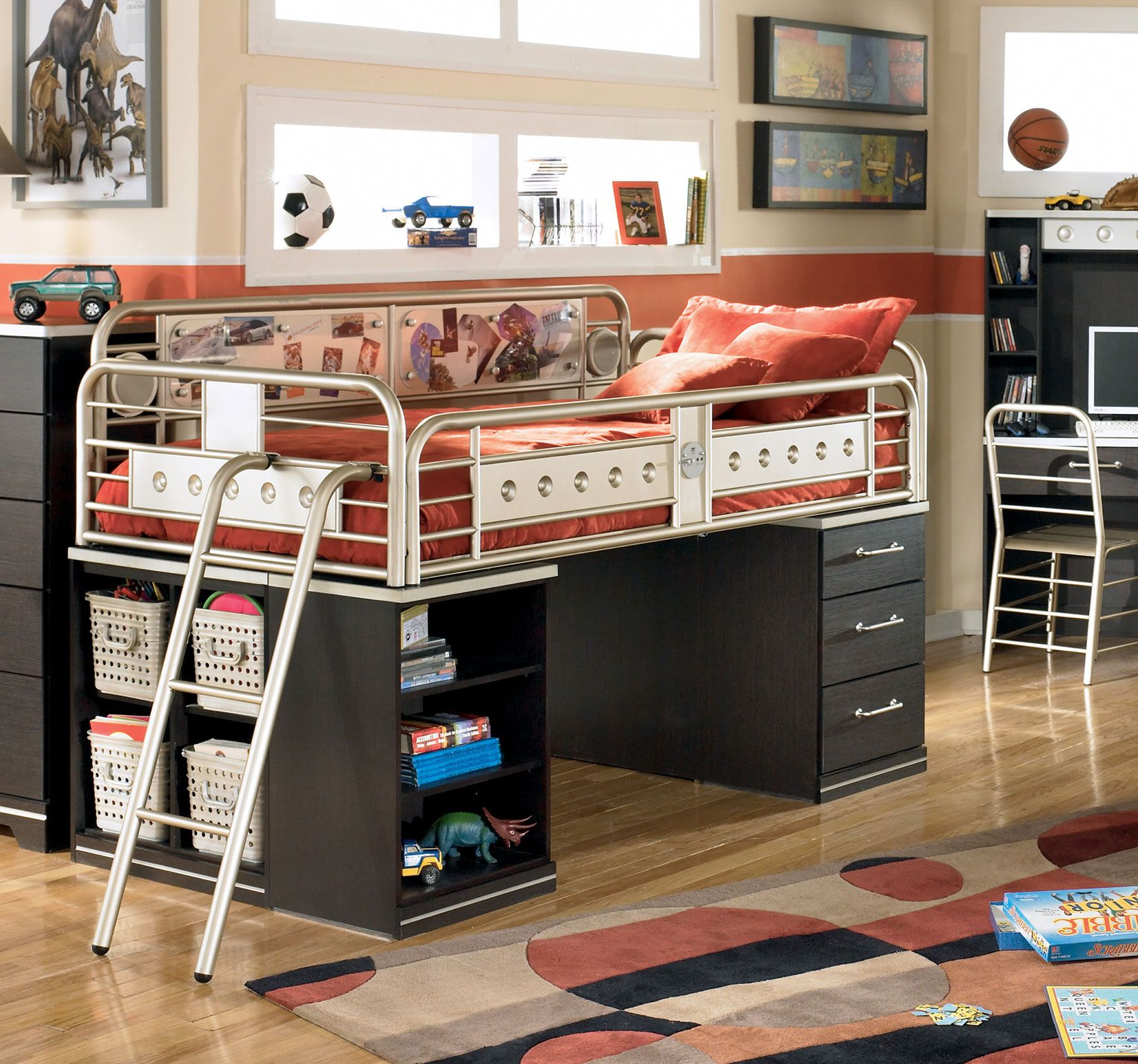 Twin Loft Bed W Mp3 Audio Speakers Izid Collection With