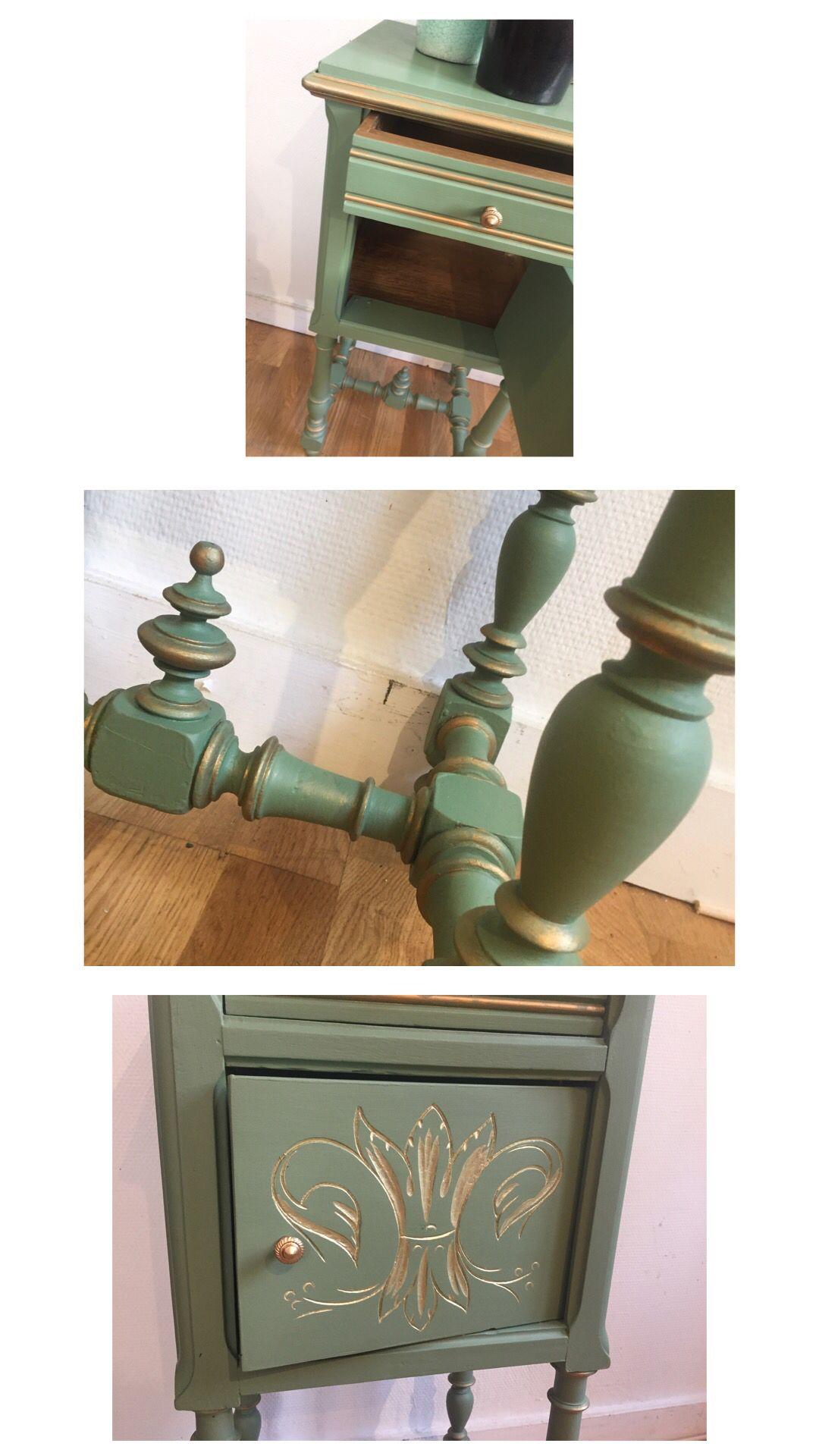 Chevet Ancien Relooke En Vert Amande Patine Doree Deco Peinture Relooking Meuble Relooker