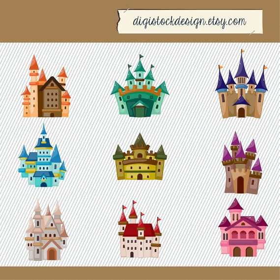Castle Clip art. Kids Castle Clipart. Fairy Tale Clipart. Pink ...