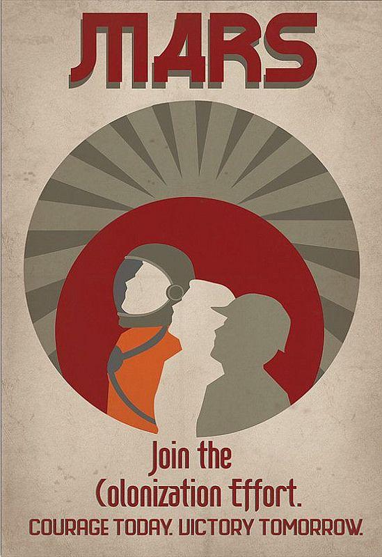 Retro Sci-fi Mars Colonization Propaganda Poster - 13x19 Print - old fashioned wanted poster