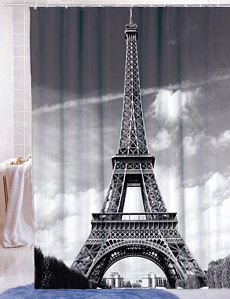 Set of 12 Paris Shower Curtain Hooks with Decorative Eiffel Towers