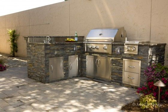Outdoor Kitchen With Roxpro Stone Veneer Designed Julie Orr Design