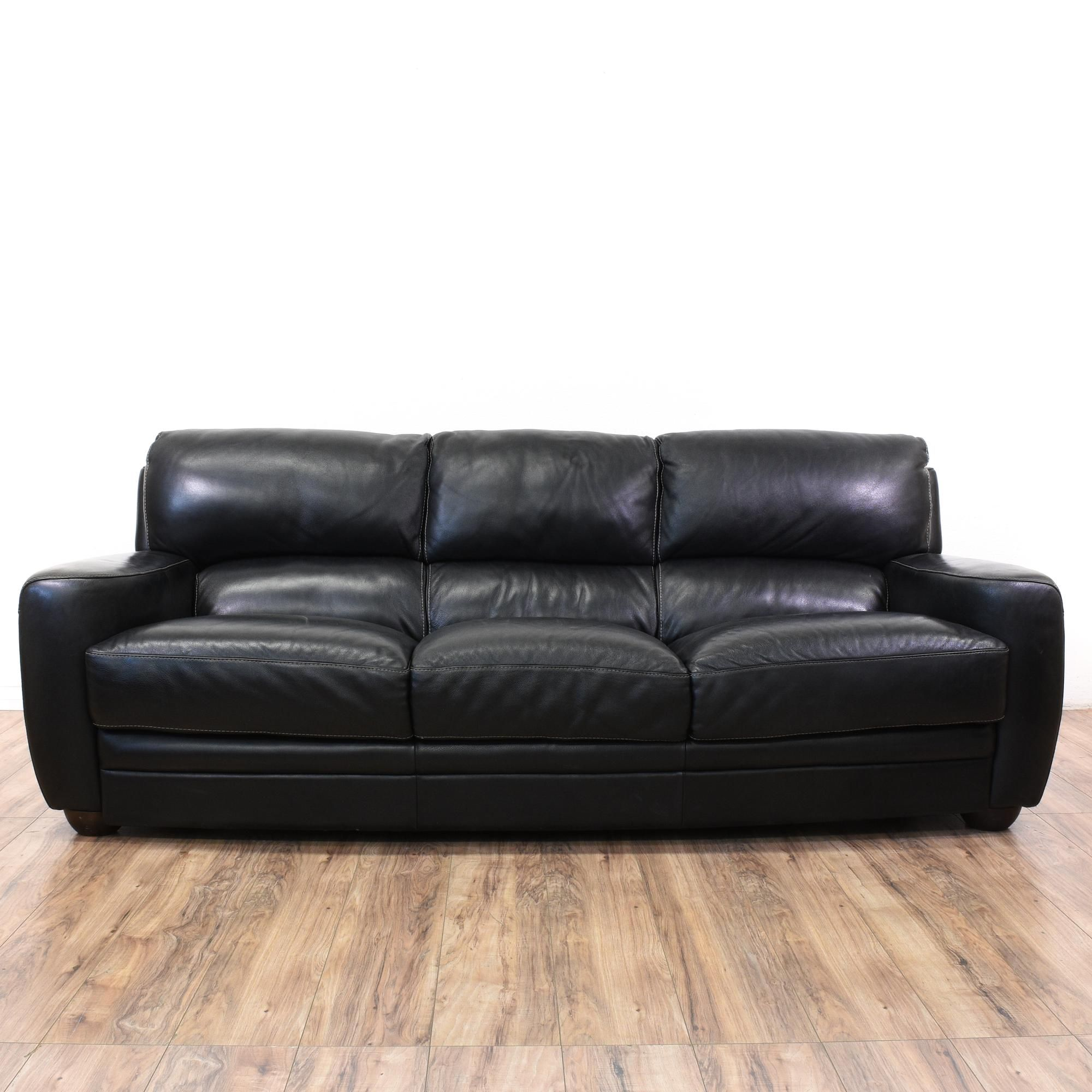 This Sofitalia Sofa Is Upholstered In A Durable Leather With A Shiny Black Finish This Contem Wayfair Leather Sofa Italian Leather Sofa Vintage Leather Sofa