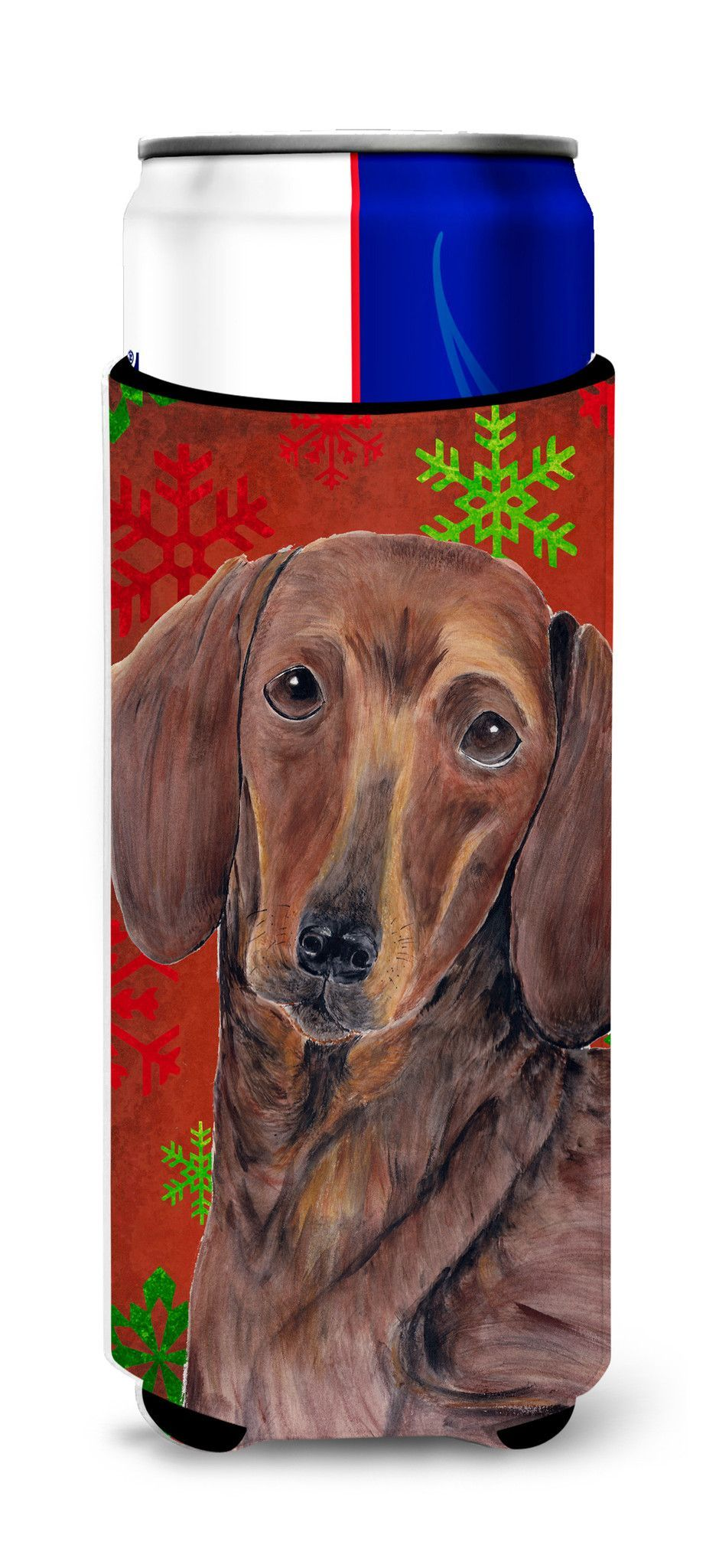 Dachshund Red and Green Snowflakes Holiday Christmas Ultra Beverage Insulators for slim cans SC9408MUK