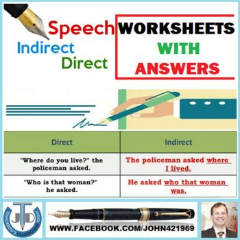 Direct And Indirect Speech Worksheets With Answers 23 Exercises Direct And Indirect Speech Indirect Speech Learning Problems