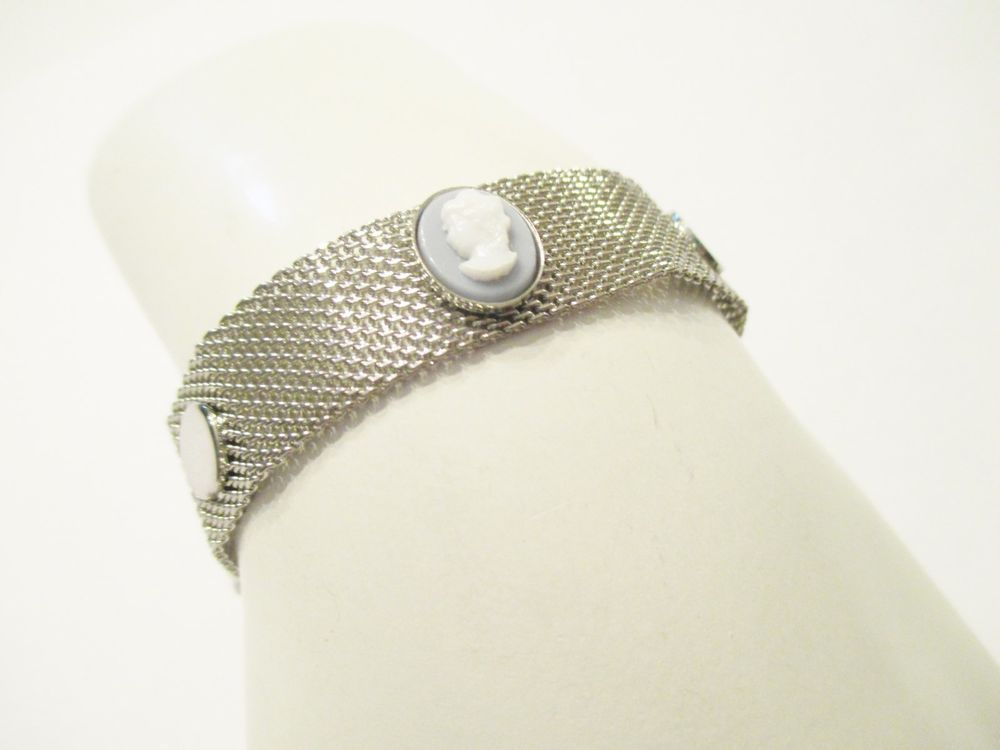 Vintage NAPIER Silver Mesh Bracelet with Blue Resin Cameos Fold Over Clasp #Napier #MeshCameoFoldOverClaspVintage
